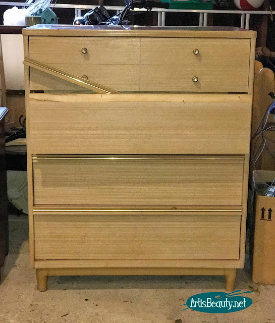 Mid century Modern dresser makeover BEFORE using general finishes milk paint
