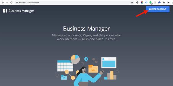 """Si vous n'avez pas de page """"Business"""" créez en une:  par Facebook Business Manager sinon allez directement plus bas en """"2. Déclarez votre site web à votre page Facebook Business."""""""