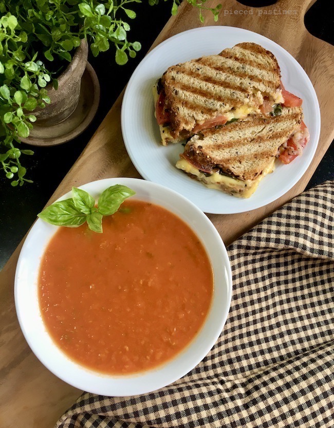 Classic Grilled Cheese and Tomato Soup Veganized at Pieced Pastimes