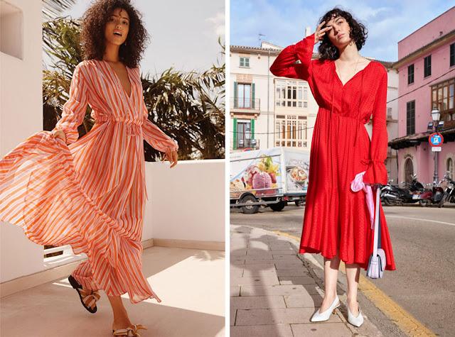 Девушка в современном приталенном красном летнем платье