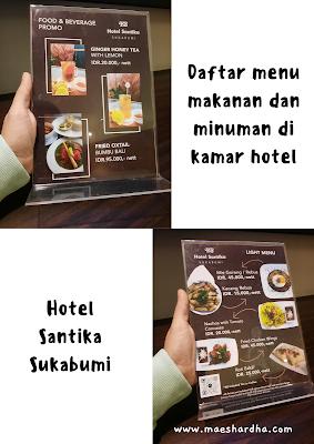 menu makanan di kamar hotel santika sukabumi