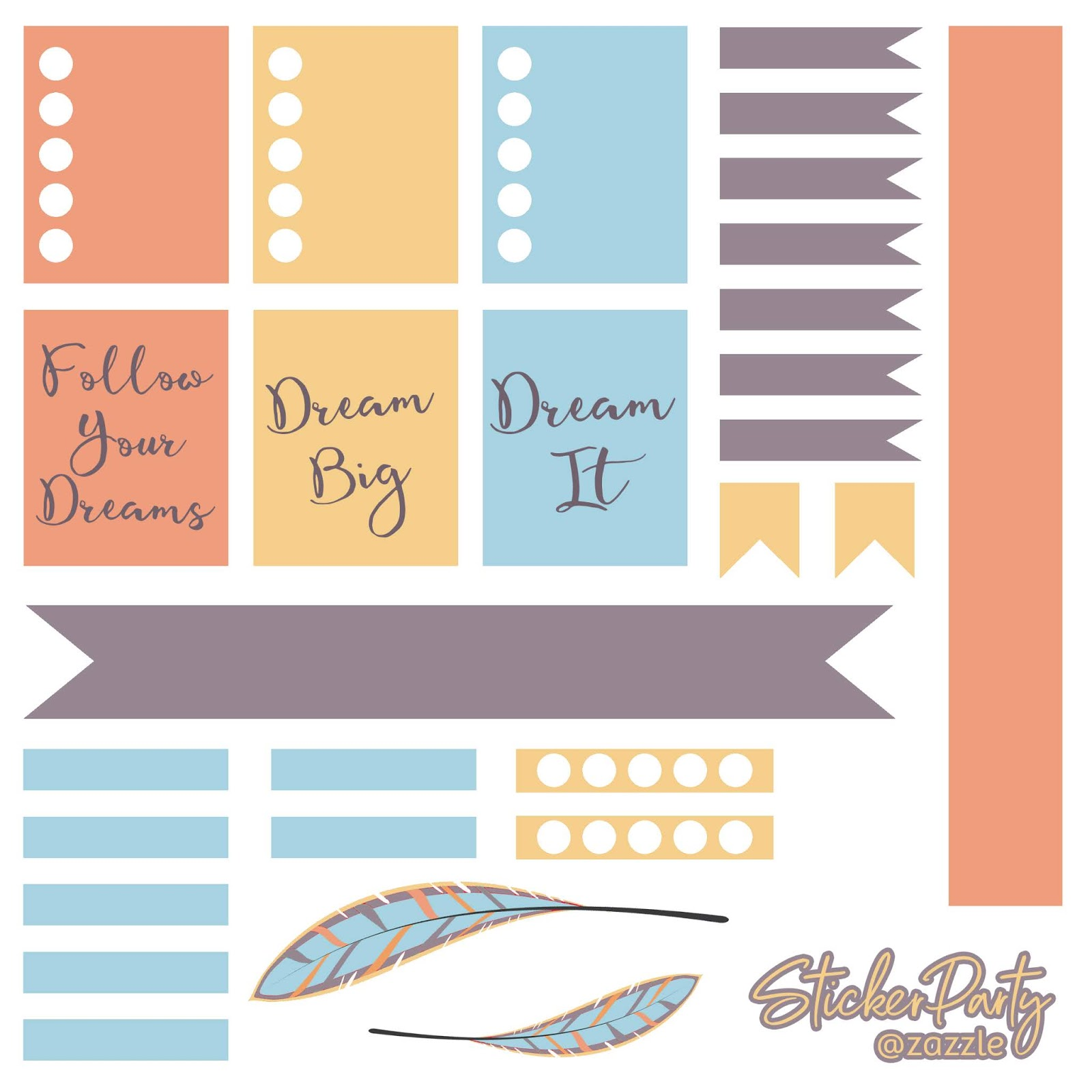 free dream big planner sticker sheet. Planner stickers fit ECLP (Erin Condren Life Planner) and Recollections planners. A digital download printable in orange, yellow, blue, and purple.