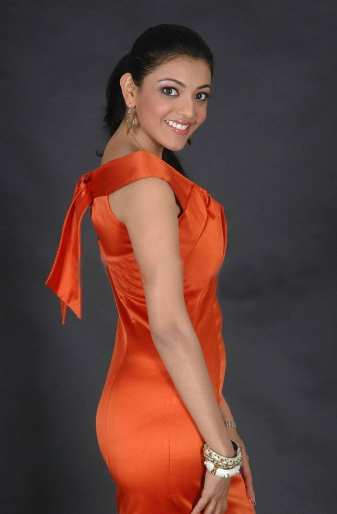 Kajal Agarwal Hot Photoshoot In Orange Dress  Kajal -1891