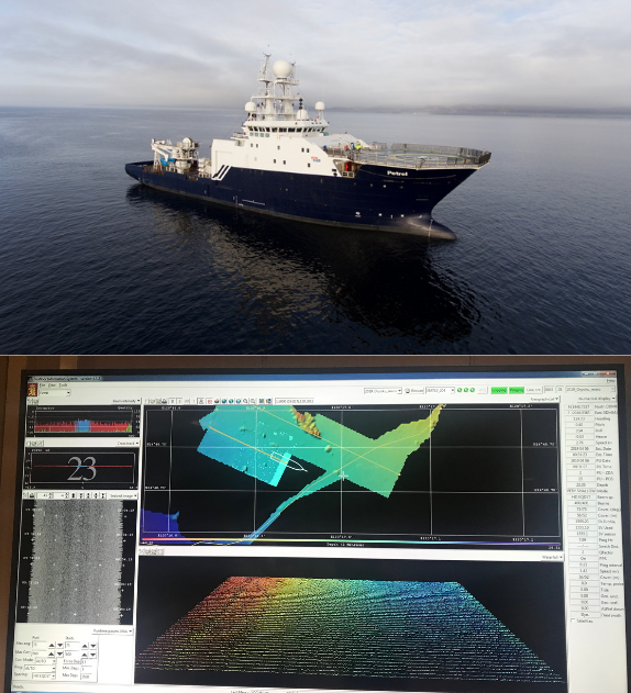 The Research Vessel Petrel and the screenshot of the Multibeam Echosounder Sonar (MBES) scanning of Oryoku Maru in Subic Bay.