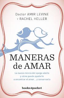 Portada de 'Maneras de amar' de Amir Levine y Rachel Heller. Sobre fondo rosa dos pajaritos azules sobre una rama juntan sus picos.