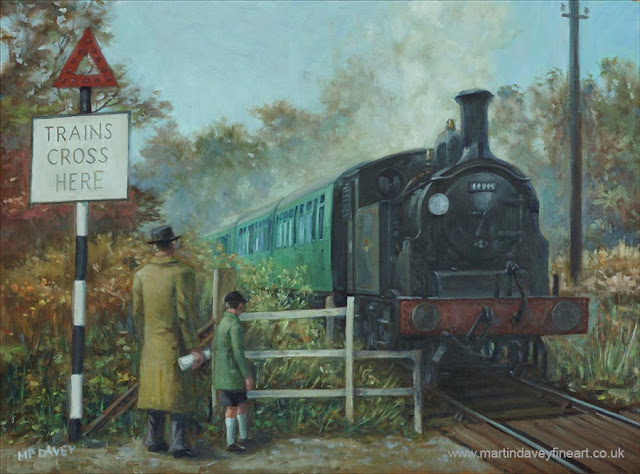 steam engine M7 countryside art 1950s