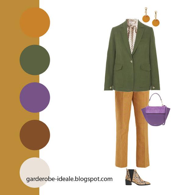 Сочетание оранжевого, зеленого и фиолетового цвета в одежде