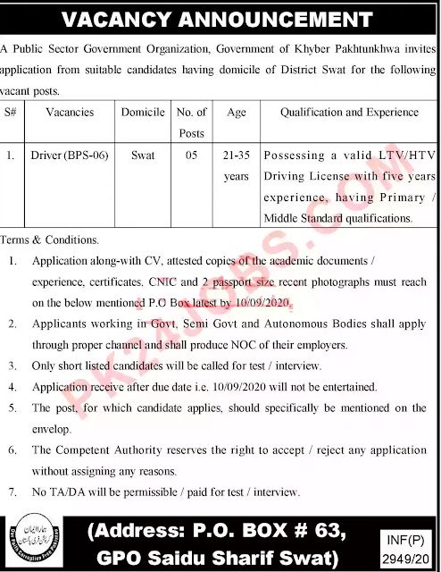 Driver Jobs 2020 in Sawat Shaidu Sharif