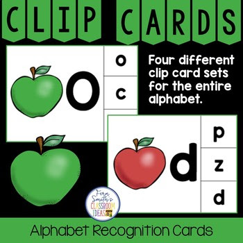 Alphabet Clip Card Center Easy Prep for Uppercase and Lowercase with a Cute Apple Theme #FernSmithsClassroomIdeas