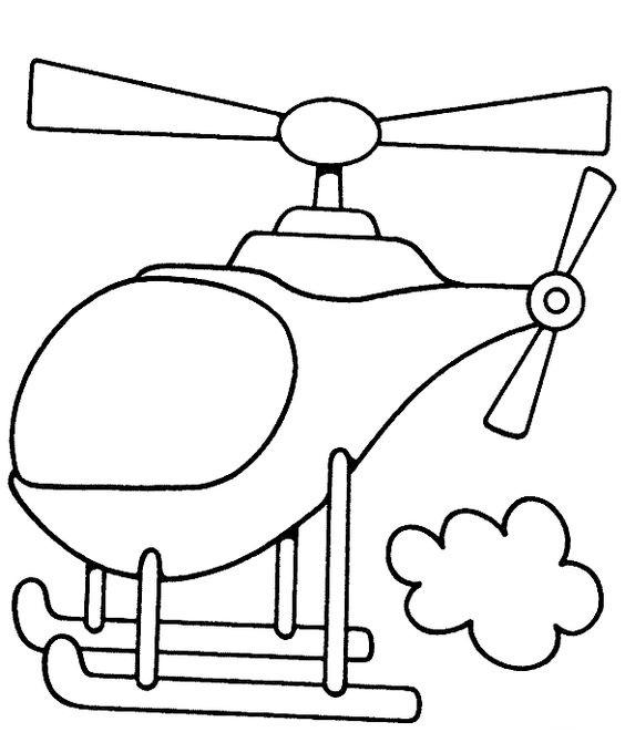 Tranh tô màu máy bay trực thăng và đám mây