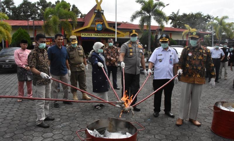 Polres Tanjungpinang Musnahkan Puluhan Kg Barang Bukti Narkotika