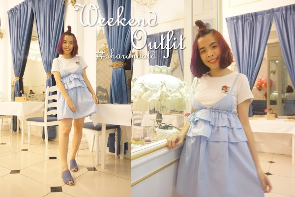 Blue Ruffle Weekend Outfit OOTD #59