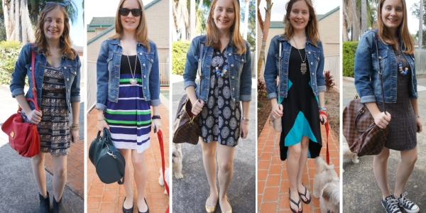 Printed dresses in spring with denim jacket 5 ways to wear | AwayFromTheBlue