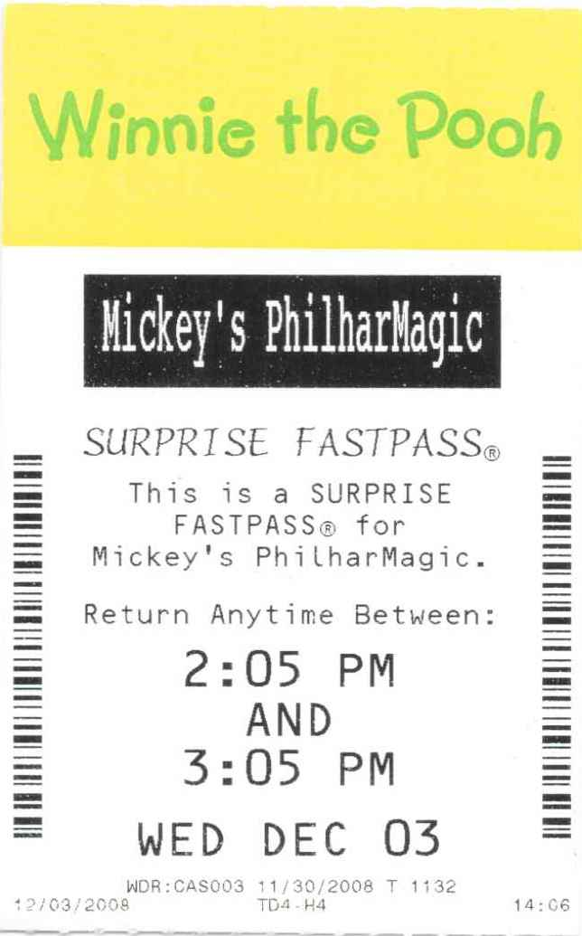 Mickey's PhilharMagic Suprise Fastpass 2008