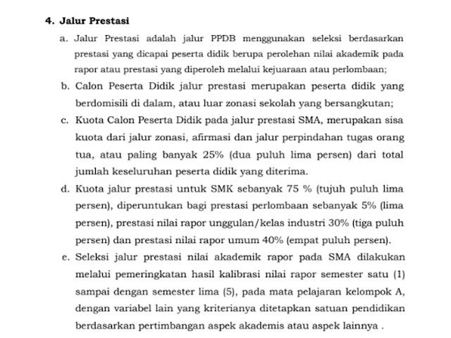 Ketentuan Jalur Prestasi PPDB SMA/SMK Jawa Barat Tahun 2020