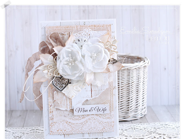 Wedding Card with Fabric Flowers