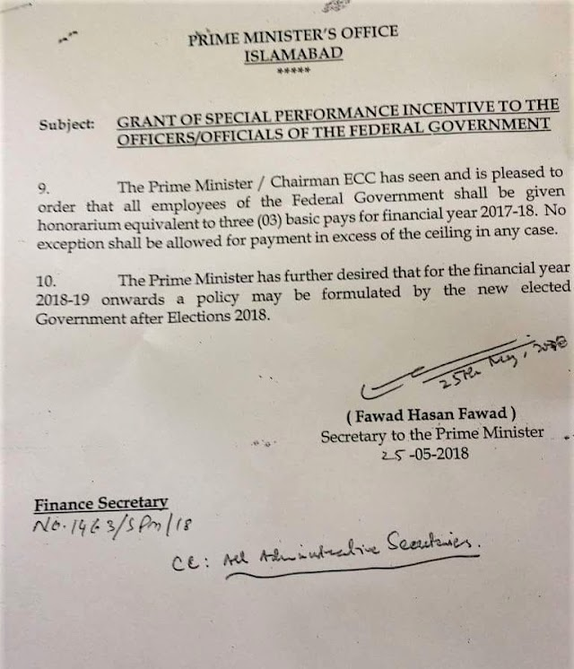 GRANT OF SPECIAL PERFORMANCE INCENTIVE TO THE OFFICERS / OFFICIALS