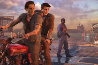 Nath and Sam Riding Bike in Uncharted 4