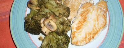 Pechuga con brócoli y champiñones