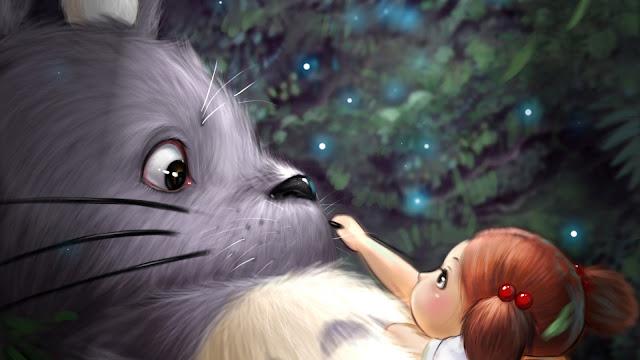 Papel de Parede Totoro e Mei Kusakabe