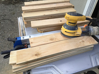 Sanding and bevelling plywood scraps