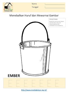 Lembar Kerja Paud Menebalkan Huruf E dan Mewarnai Gambar Ember