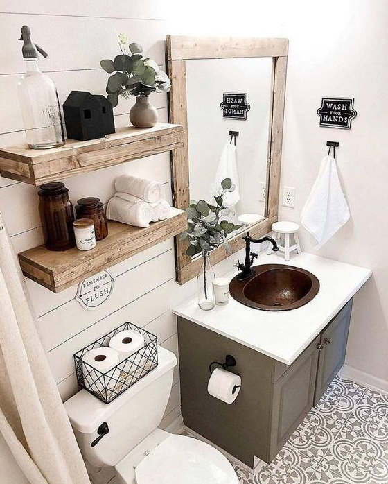 Bathroom Decor - Modern Farmhouse Inspired Rooms Homes