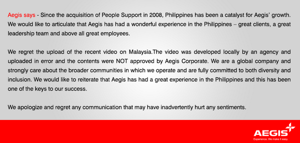 Aegis Malaysia Apologizes for Offensive Advertisemnt