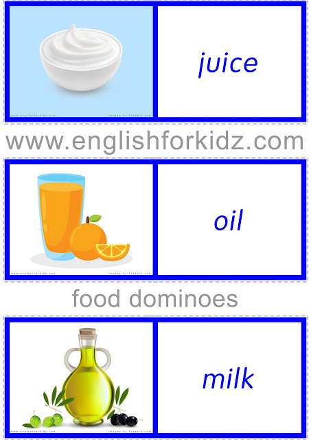 Food and drinks dominoes to learn English vocabulary