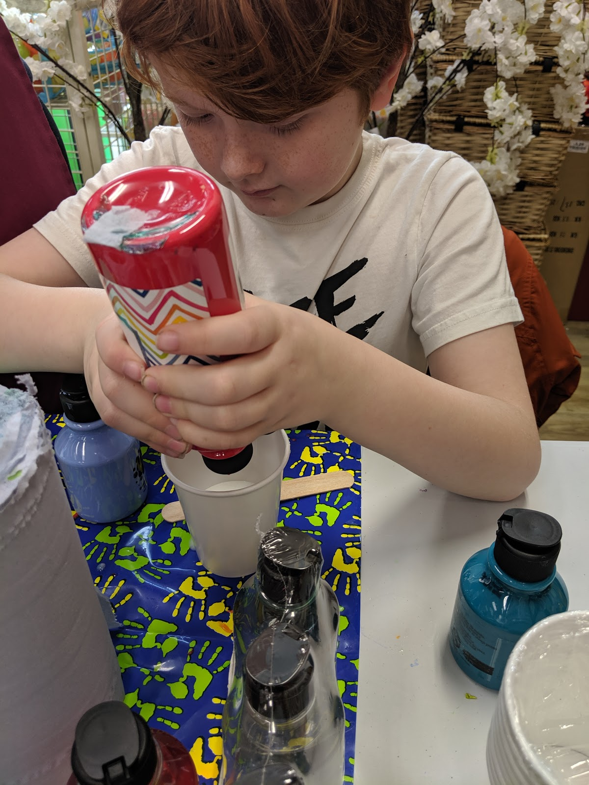 FREE Slime & Craft Workshops at Hobbycraft  - adding paint to slime