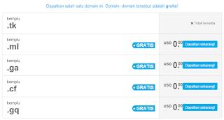 hasil pencarian domain di freenom