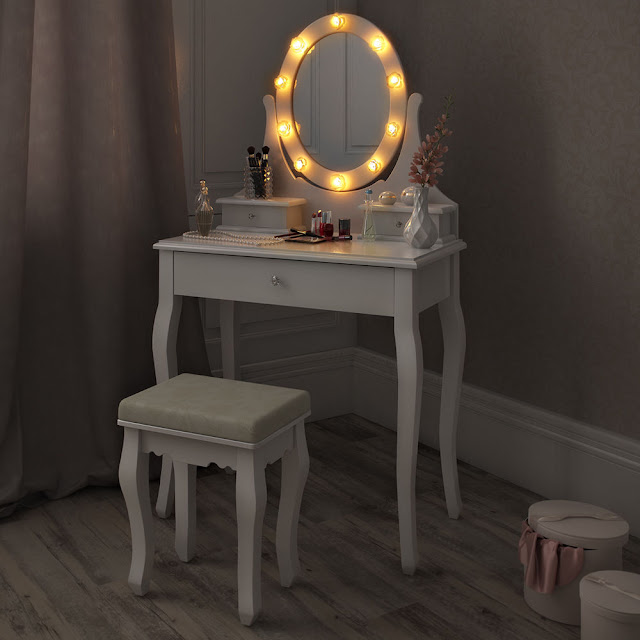 cute small portable vanity table with stool and lights