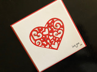 Hand made Valentine Card with Die Cut Lacy Heart and Stamped Greeting