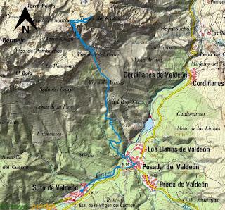 Mapa IGN de la ruta señalizada a las Torres de Arestas en Picos de Europa.