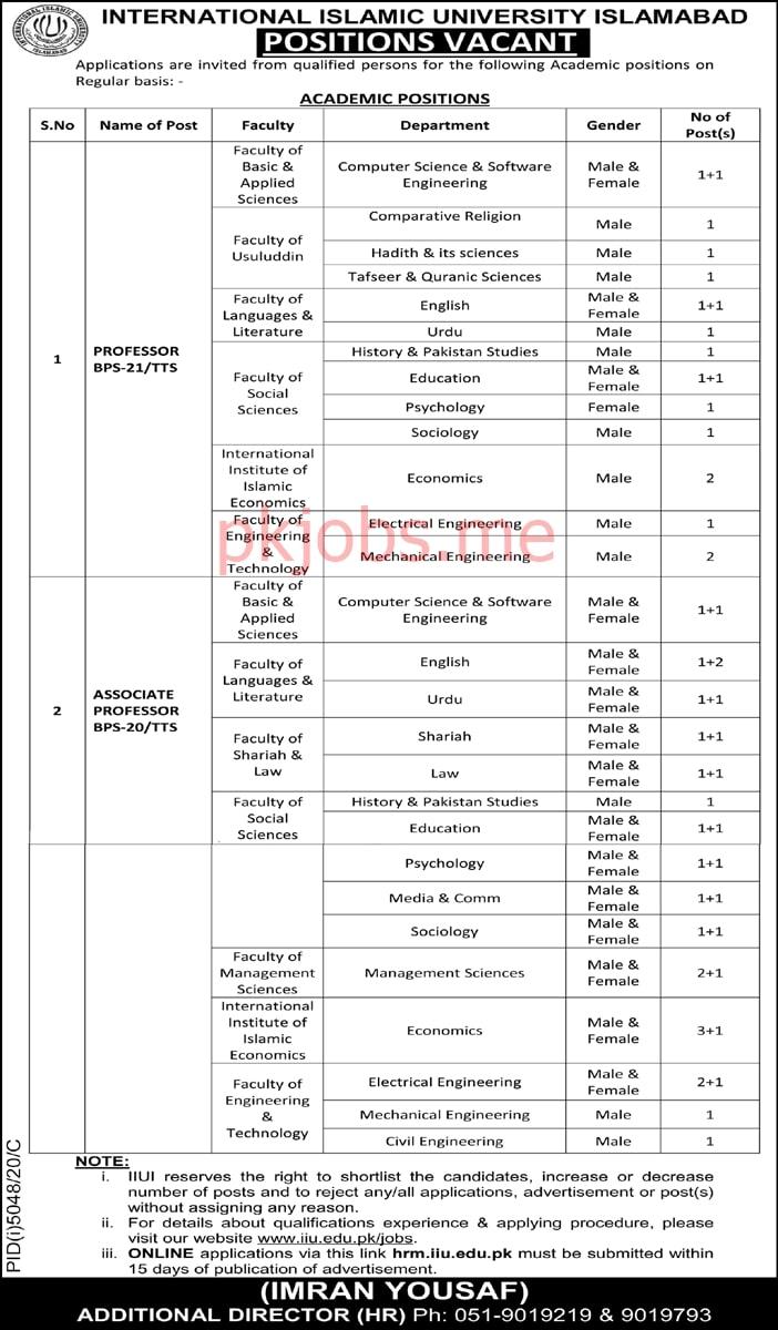 Latest International Islamic University Education Posts 2021