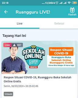 Sekolah online gratis Ruangguru