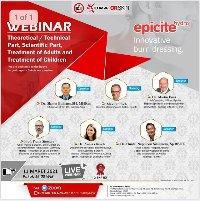 (FREE 2 SKP IDI) WEBINAR EPICITE the Hydro Active Wound Dressing for Advance Wound management on burns