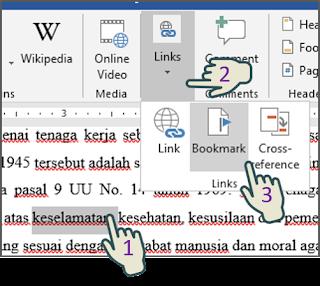 Menyisipkan Bookmark (Penanda)