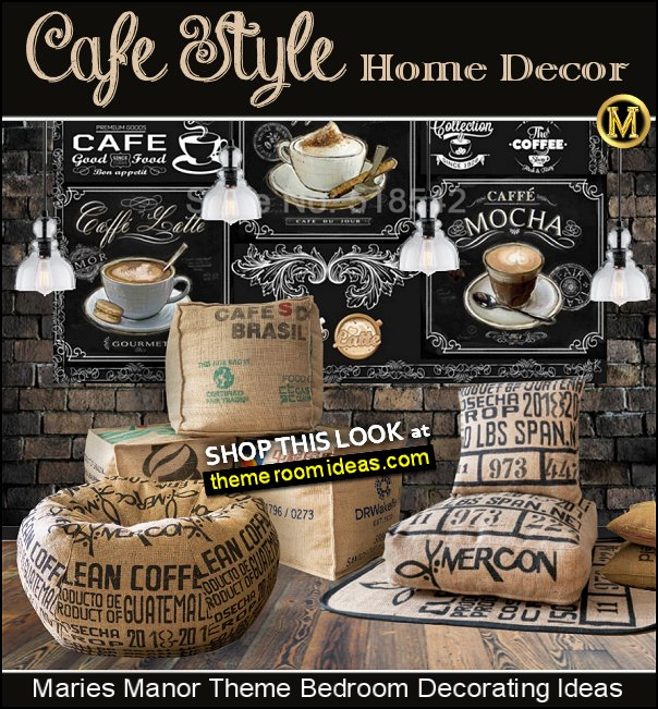 Cafe Style Coffee House CAFE Home Bistro Decorating Ideas chalkboard wallpaper mural