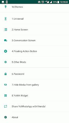 YoWhatsapp settings menu