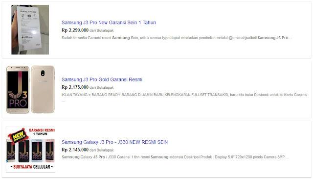Harga Pasaran Samsung J3 Pro di Bandung
