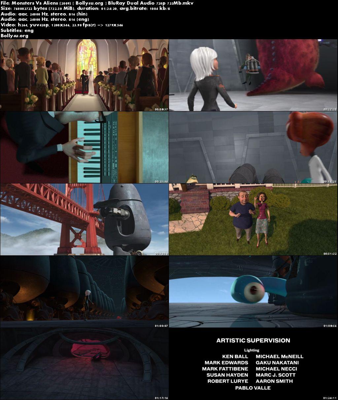 Monsters Vs Aliens 2009 BluRay 700MB Hindi Dual Audio 720p Download