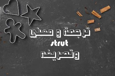 ترجمة و معنى strut وتصريفه