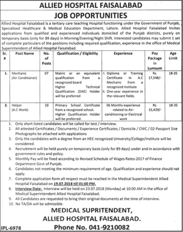 Allied Hospital Faisalabad Jobs July 2018