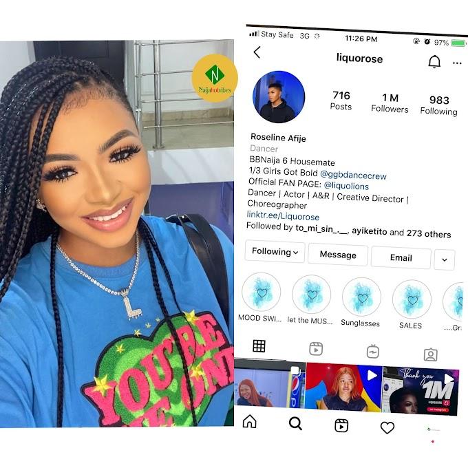 BBNaija 2021: Liquorose become the first BBNaija housemate to Hit 1 Million Followers on Instagram