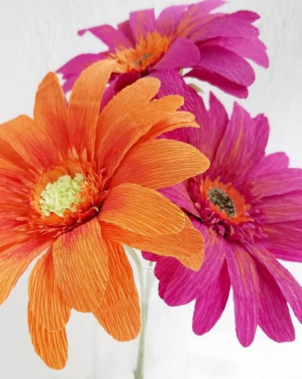 three vivid color crepe paper gerbera daisies