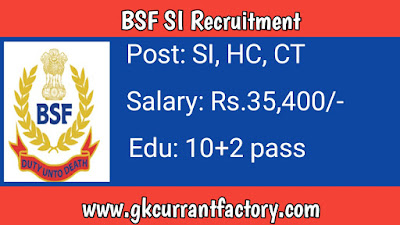 BSF SI Recruitment, BSF Recruitment