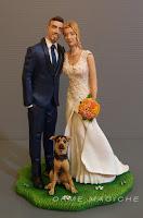 cake topper realistici statuette sposini con cane torta nozze matrimonio a tema orme magiche