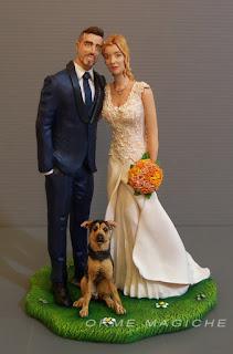 ritratto sposi da foto modellino personalizzato per matrimonio con cani lombardia orme magiche