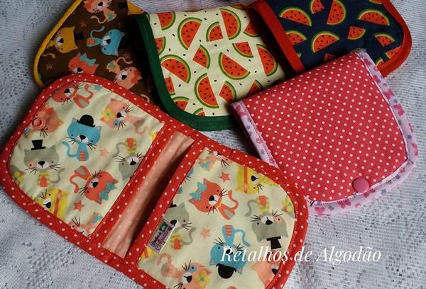 Porta absorventes em tecidos variados